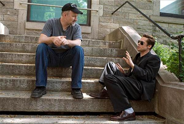 Behind the scenes ... Director David Fincher and Brad Pitt as Benjamin Button.